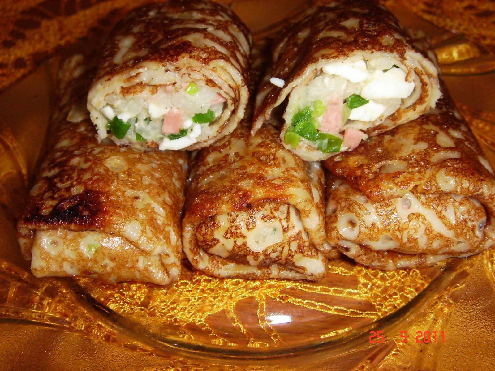 Блины фаршированные мясом и рисом пошагово